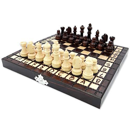 Amazinggirl Schachspiel Schach Schachbrett Holz hochwertig - Chess Board Set klappbar mit Schachfiguren groß für Kinder und Erwachsene (21x21 cm, Schach handgeschnitzt)