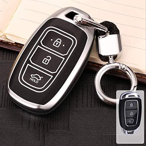 AHUIAI Belangrijkste koffer Nieuwe Zink Legering Lichtgevende Auto Sleutelkoffer Voor Hyundai Santa Fetm 2019 I30 Solaris 2016-2018 Azera Elantra Grandeur Accent Accessoires E-zilver