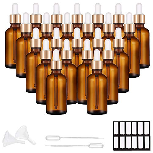 PrettyCare Eye Dropper Bottle 1 oz (24 Pack Amber Glass Bottles 30ml with Golden Caps, 48 Labels, Funnel & Measured Pipettes) Empty Tincture Bottles for Essential Oils