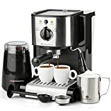 7 Pc All-in-One Espresso & Cappuccino Maker Machine Barista Bundle Set w/Built-in Steam Wand (Inc: Coffee Bean...