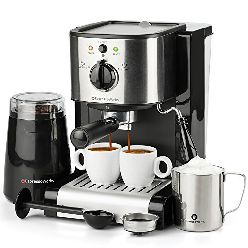 7 Pc All-in-One Espresso & Cappuccino Maker Machine Barista Bundle Set...