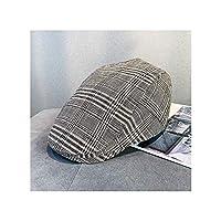 チェック柄の帽子男性のベレー帽女性のカジュアルバイザー調節可能(55〜58センチメートル)レトロな秋と冬の帽子 (Color : G, Size : 55-58cm)
