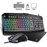 Vic Tech FL Tastiera e Mouse da Gioco, LED RGB Retroilluminato Cablato con 25 Tasti Anti-ghosting, 8 Tasti Multimediali Efficienti Poggiapolsi, 4 Livelli DPI Mouse con 3200 DPI, Layout Italia(Nero)