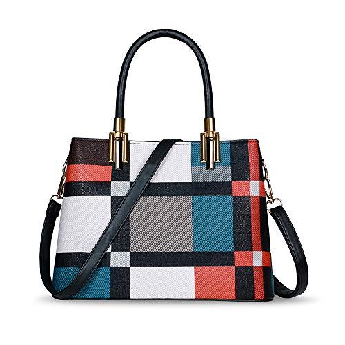 TIBES Handtasche Damen Elegant PU Leder Schultertasche Damen Mehrfarbig Gestreift Henkeltasche Damen Tasche