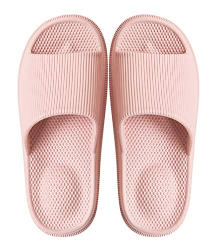 Woman's Man's House Indoor & Outdoor Slippers Anti-Slip Massage Shower Spa Bath Pool Gym Slides Flip Flop Open Toe Comfortable Soft Sandals Casual Shoes Light Weight EVA Platform(Massage/Pink, 35)