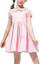 NEXLOMOS Little Girls Princess Dress Casual Doll Collar Short Sleeve Solid Color Dresses