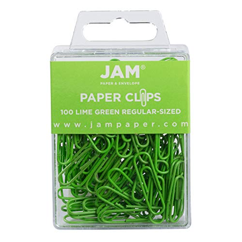 JAM PAPER Colorful Standard Paper Clips - Regular 1 Inch - Lime Green Paperclips - 100/Pack