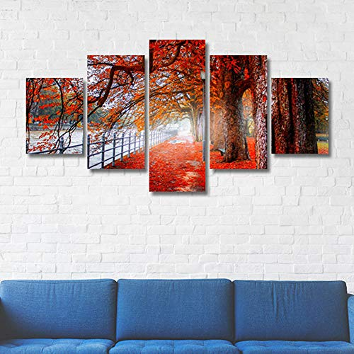 TJJS Canvas Living Room Pictures Painting Wall Artwork 5 Panel Red Maple Leaves HD Printed