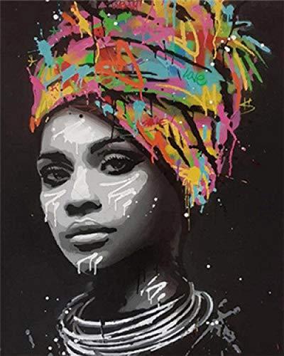 HUASUI Ölgemälde nach Zahlen African Women Paintings DIY Portrait Malen nach Zahlen Canvas Painting Kits 40x50cm Kombinationsrahmen