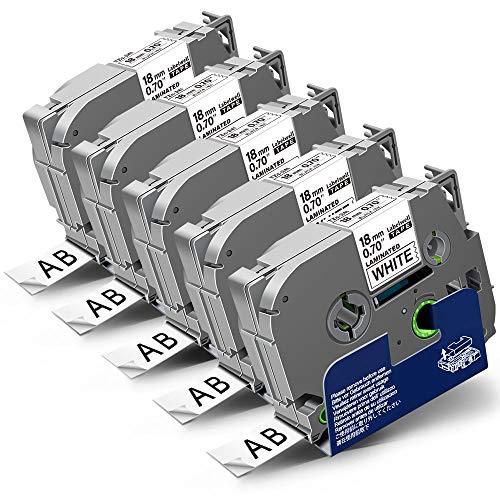 5x Labelwell 18mm x 8m Compatible Etiquetas Reemplazo para Brother Tzc TZ Tze-241 Tze241 Negro sobre Blanco Laminado para Brother P-Touch CUBE PLUS PT-P710BT D450VP D400VP PT-1890 2030 PT-H500LI P750W