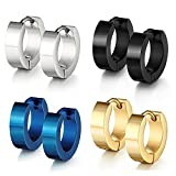 Jaetech House 4 Paar Edelstahl Huggie klappbar Ring Ohrringe - Inklusive Ohrringe für Männer - Schwarz, Blau, Gold und Silber Reifen für Männer 9mm (4 Paar) MEHRWEG
