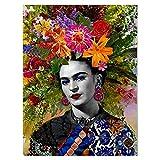 Frida Kahlo Imprimir Lienzo Cuadro De Arte De Pared Frida Kahlo Con Hermosas Flores En Su Cabeza Lienzo Pintura Póster E Impresiones En Lienzo Para Sala De Estar, Oficina, Sin Marco,70×90cm