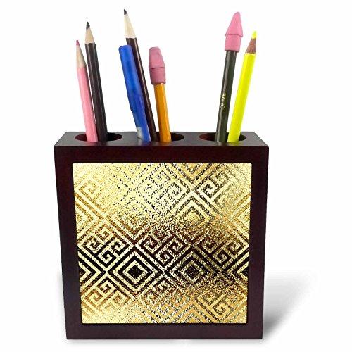 3dRose Ph_267487_1 pennenhouder, digitaal, Grieks patroon, 12,7 cm, goudkleurig