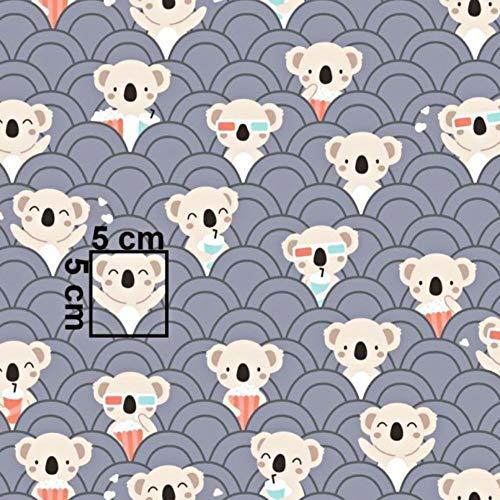 Pingianer 11,99€/m Koala 100% Baumwolle Baumwollstoff Kinder Meterware Handwerken Nähen Stoff (Hase Mond Herz Weiß) (Koala Kino Dunkelgrau, 100x160cm (11,99€/m))