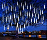 Hitopin Meteor Lights, 30cm 8 Tubes 192LED Falling Rain Lights Outdoor, with a Transformer, Christmas Meteor Shower Lights, Snowfall Fairy Lights, for Party Wedding Christmas Tree Decoration (White)