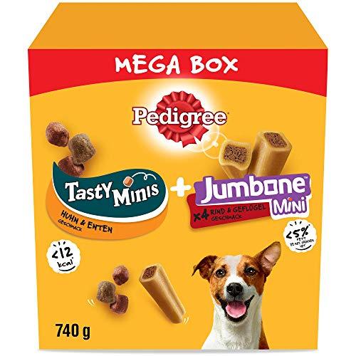 Pedigree Hundesnacks Mixpack für kleine Hunde mit Leckerbissen Ente & Huhn und Mini-Riesenknochen Rind & Geflügel (4 Stück), 740g