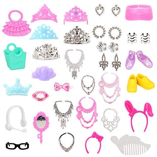 Miunana 40 PCS Zubehör Tasche Schmuck Halskette Schuhe Brille Accessories für 11,5 Zoll Mädchen Puppe