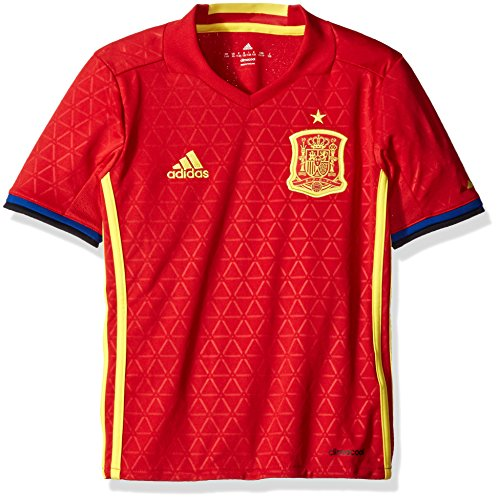 adidas Boys' Soccer Youth Spain Jersey, Scarlet/Bright Yellow, Large