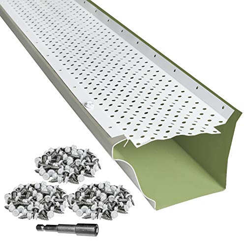 LeafTek 6' x 32' Gutter Guard Leaf Protection in White | DIY Premium Contractor Grade 35 Year...