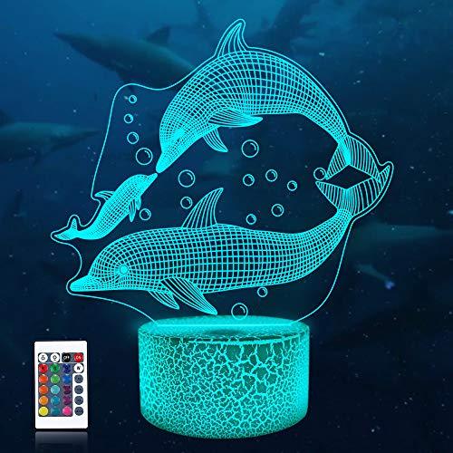 CooPark 3d delfin Nachtlicht für Kinder Ozean 3D Nachtlicht Porpoise Nacht lampe 16 Farbwechsel Weihnachten Halloween Geburtstagsgeschenk für Kind Baby Junge…