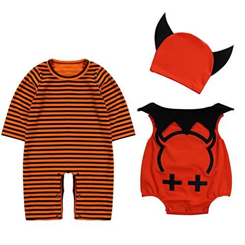 Le SSara Baby Devil Vampier Halloween Romper Pasgeboren Bodysuit Kostuum Outfits 3 st 90 A-oranje