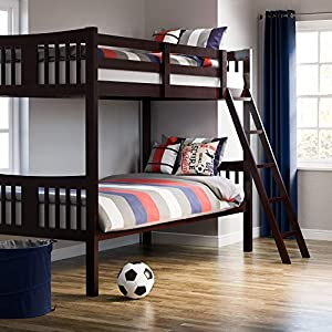 51kwLfOrqgL. SS300  - Storkcraft Caribou Solid Hardwood Twin Bunk Bed with Ladder and Safety Rail, Espresso