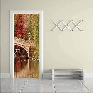 NYC,Self Adhesive Wall Sticker Bow Bridge in Autumn Season Stickers Decoration Removable W31xH79