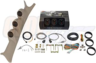 GlowShift Diesel Gauge Package for 1999-2007 Ford Super Duty F-250 F-350 6.0L 7.3L Power Stroke - Black 7 Color 60 PSI Boost, 1500 F Pyrometer EGT & Transmission Temp Gauges - Tan Triple Pillar Pod