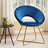 Duhome Modern Velvet Accent Chairs Upholstered Vanity Chairs Make-up Stool Home Office Guest Reception Chair Arm Leisure Chairs Dining Chair with Golden Legs Mid-Back for Living Room 1 pcs Blue