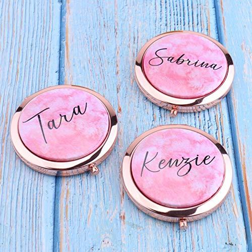 Espejo compacto personalizado con texto en inglés Your Name, color rosa, acuarela para dama de honor, despedida de soltera, regalo para su despedida de soltera