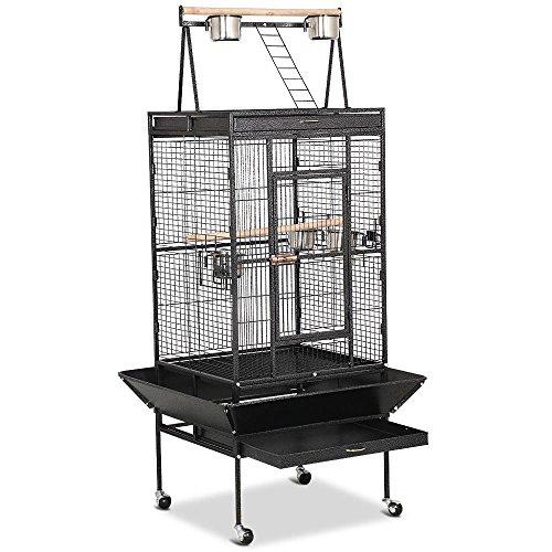 Yaheetech Jaula para Pájaros Jaulas Grandes para Canarios Loros Jaula Metal Grande 80 x 76 x 172 cm Negro