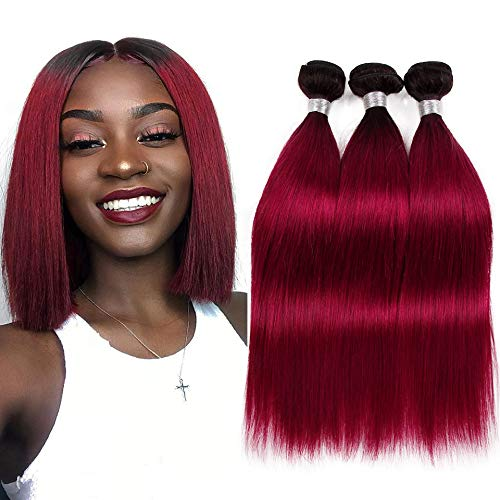VIOLET Ombre IB Red Bundles Brazilian Human Hair 3 Bundles Straight Weave 1B Burgundy Straight Human Hair Black to Wine Red Two Tone Hair Weave Wefts(10 12 14 inches,300g/lot)
