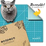 "ecopeco 18""x24"" Self Healing Professional Cutting Mat Double Sided Grid Board with Identification Non-toxic Materials for Art, Craft, Sewing, Quilting, Hobby, Scrapbooking in Fabric, Paper, Vinyl with Rorary Cutter, Exacto Knife [Quetzal Blue]"