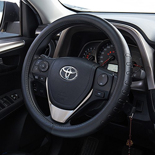 FMS Genuine Leather Car Steering Wheel Cover Universal 15.5 Inch Automotive Interior Accessories-Black, Durable, Breathable, Anti Slip, Odorless
