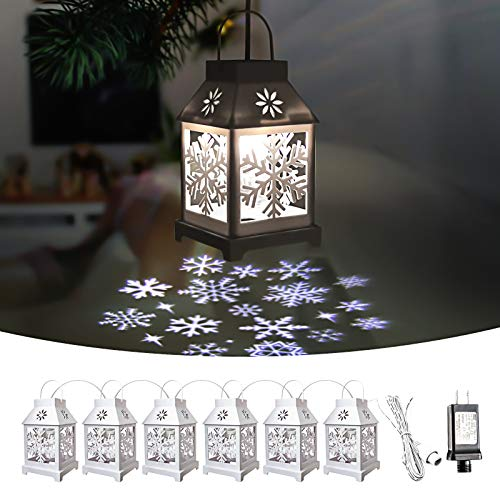Christmas Projector String Light, 22 FT 6 in 1 Snowflake Decoration extendable for Christmas Tree, Indoor, Outdoor, Yard, Garden, Party Decoration, White
