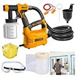 Homdum Electric HVLP Paint Sprayer Gun 550W Ingco Portable Spraying Machine Shoulder Mountable Fast Air Painting Tool with Safety kit and Paint protection film