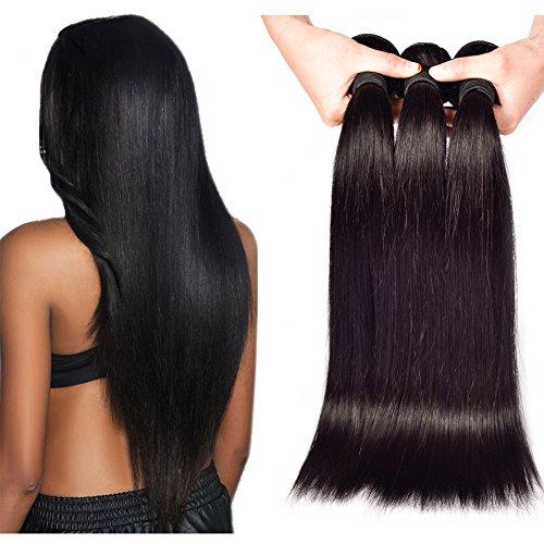Yant Cheveux Qualité 8 A péruvien Cheveux Vierges droite Tissage de cheveux humains 3 trames Noir naturel Couleur Lot de 3