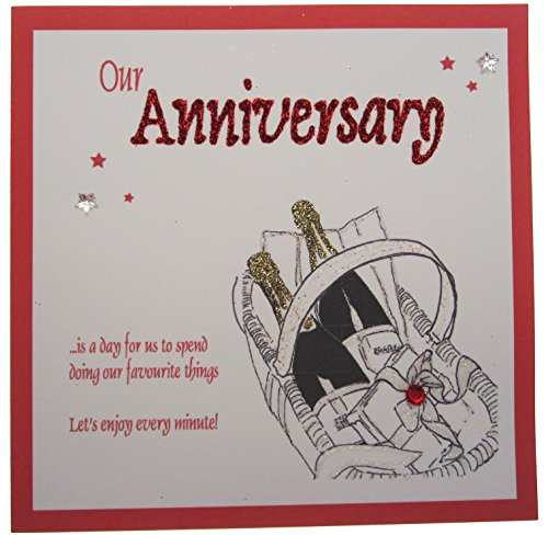 witte katoenen kaarten 1-delig Onze verjaardag Laten we genieten van elke minuut handgemaakte kaart, champagne mand