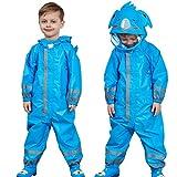 Impermeabile per Bambini, Tuta per Bambini Impermeabile con Cappuccio Resistente Alla Pioggia 5-7 anni,Blue