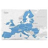 Rompecabezas de 1000 Piezas,Rompecabezas de imágenes,Los países de la Unión Europea en inglés etiquetado mapa,Juguetes puzzle for Adultos niños Interesante Juego Juguete Decoración Para El Hogar