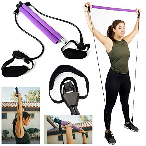 Pilates Bar Kit With Adjustable Resistance Bands Portable Home Gym Equipment x3 Full Body Workout Exercise Band For All Levels Yoga Strength Training on The Go for Women Men Premium Purple and Black