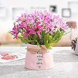 chuanglanja Flor Artificial para Decoracion Escritorio Interior En Maceta Sala De Estar Conjunto De Flores Falsas Botella De Cerámica Color De Loto Rojo Crisantemo