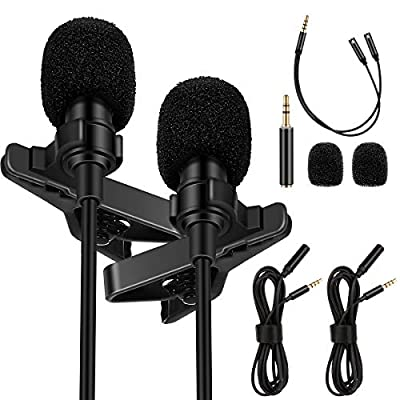 Amazon - Save 50%: AFANTY 2 Pack Lavalier Microphone, Professional Omnidirectional Condens…