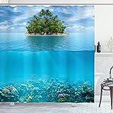 ABAKUHAUS Tropical Cortina de Baño, Pequeña Isla en el océano, Material Resistente al Agua Durable Estampa Digital, 175 x 200 cm, Aqua Forest Green