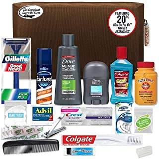 Men's Premium 20-Piece Kit with Travel Size TSA Compliant Essentials, Featuring: Dove Men & Care Products in Black Dopp Bag
