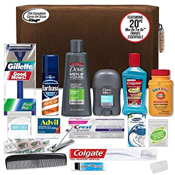 Convenience Kits International Men's Premium 20-Piece Kit with Travel Size TSA Compliant Essentials Featuring  Dove Men & Care Products in Brown Dopp Bag
