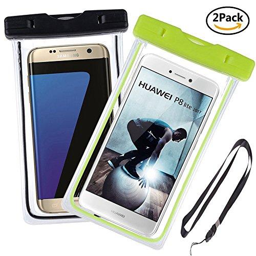 Ycloud Hohe Qualität [2 Pack] Wasserdichte Tasche, bis zu 6 Zoll, Tauchen Kanu Wassersport Tasche Geeignet für Leagoo T5, Leagoo Z6, ZTE A606, Lenovo C2 / C2 Power -(Grün+Schwarz)