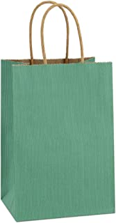 BagDream Kraft Paper Bags 100Pcs 5.25x3.75x8 Inches Small Paper Gift Bags with Handles Bulk Party Bags Shopping Bag Kraft Bags Green Stripe Craft Bags