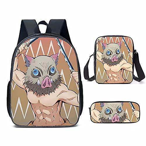 Zaino unisex Demon Slayer Set di 3 sacchetti per la scuola, astuccio portapranzo, Demon Slayernero11, Taglia unica