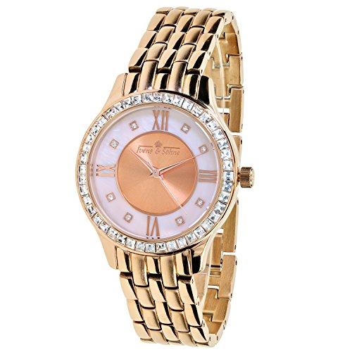 Ivens & Söhne Damen-Armbanduhr Quarz Kristall-Lünette rosé vergoldet